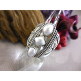 Freshwater Pearl (3-Bezel Settings) .925 Sterling Silver Ring - Size 9.25