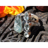 Aquamarine (Rough) and Blue Topaz Sterling Silver Ring - Size 8.5