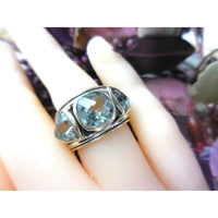 Green Amethyst 3-Stone .925 Sterling Silver Ring - Size 6.50