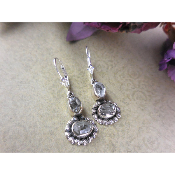 Herkimer Diamond (Quartz) Rough .925 Sterling Silver Earrings