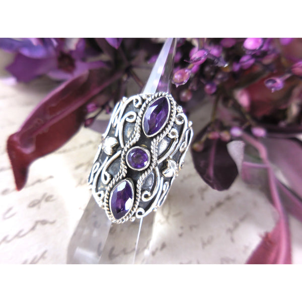 Amethyst 3-Stone .925 Sterling Silver Ring - Size 7