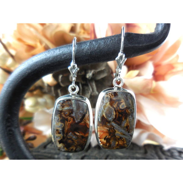Tube Agate Cabochon .925 Sterling Silver Earrings