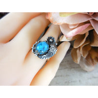 Turquoise Flower & Leaf .925 Sterling Silver Ring - Size 8
