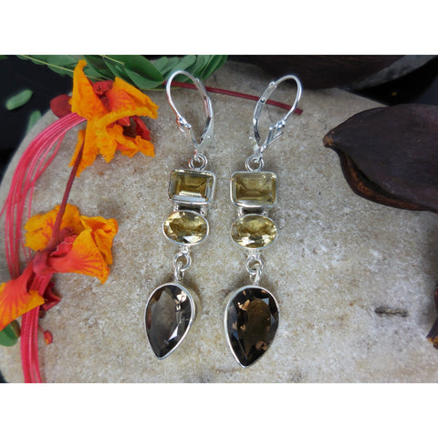 Smoky Quartz & Citrine Sterling Silver Earrings