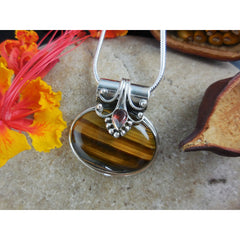 Tiger's Eye & Garnet Sterling Silver Pendant/Necklace