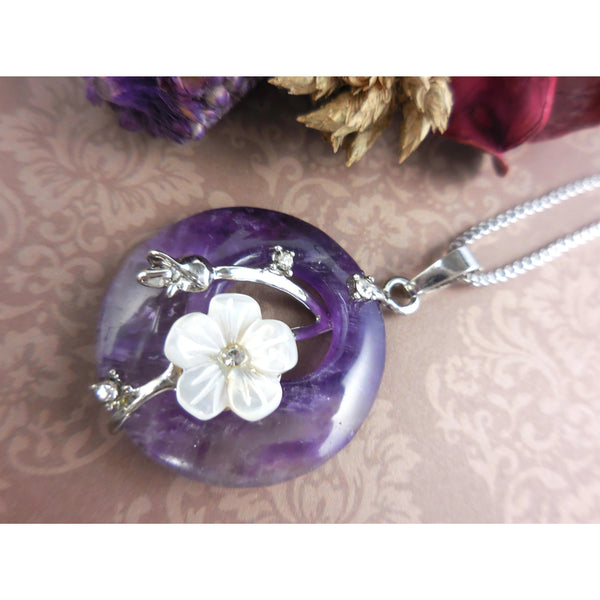 Amethyst, Mother-of-Pearl, and Crystal Stones Disc Stainless Steel Necklace