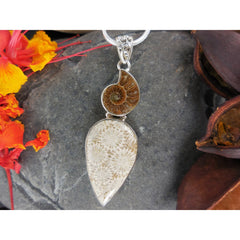 Fossilized Coral & Ammonite Sterling Silver Pendant/Necklace