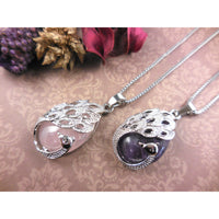 Amethyst Cabochon Peacock Silver-Plated & Stainless Steel Necklace