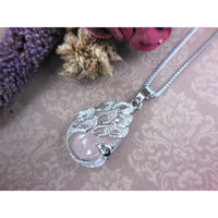 Rose Quartz Cabochon Peacock Silver-Plated & Stainless Steel Necklace