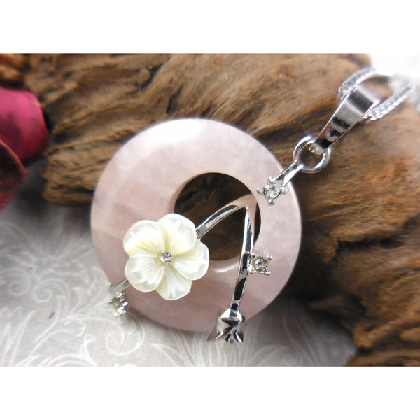 Rose Quartz, Mother-of-Pearl, & Crystal Disc Stainless Steel Pendant/Necklace