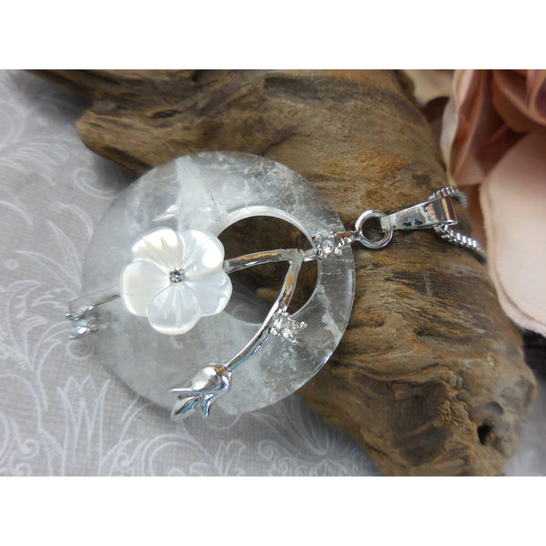 Crystal Quartz, Mother-of-Pearl, & Crystal Disc Stainless Steel Pendant/Necklace