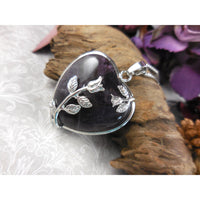 Amethyst Cabochon Chunky Heart Silver-Plated & Stainless Steel Necklace