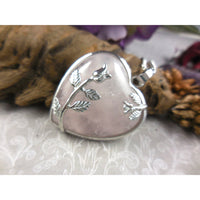 Rose Quartz Cabochon Chunky Heart Silver-Plated & Stainless Steel Necklace