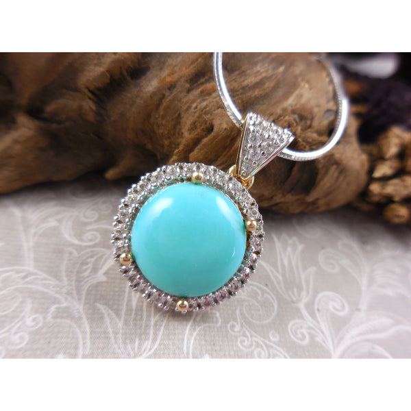 Turquoise & Natural White Zircon Two-Tone 14kt Gold Over Sterling Pendant/Necklace