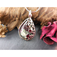 Garnet in the Rough Cabochon.925 Sterling Silver Pendant/Necklace