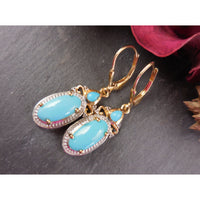 Turquoise & Natural White Topaz Two-Tone 14kt Gold Over Sterling Earrings