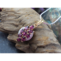 Rhodolite Garnet & White Topaz .925 Two-Tone Sterling Silver Pendant/Necklace