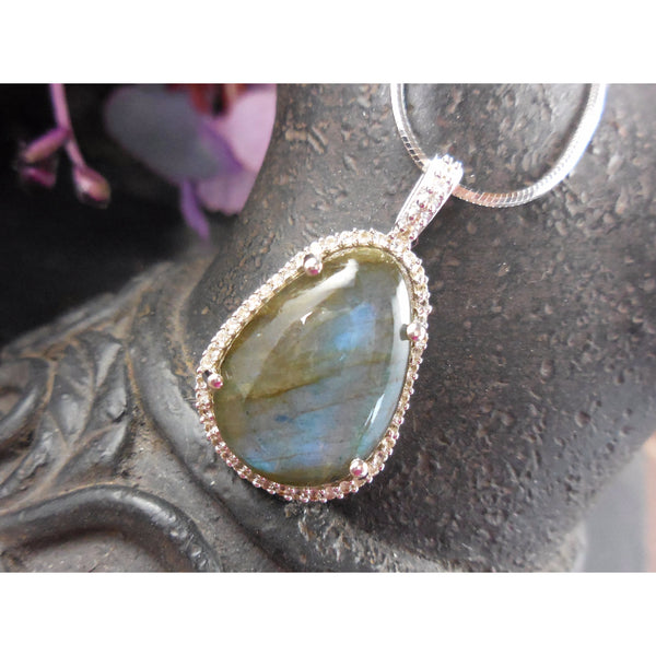 Labradorite & White Topaz Sterling Silver Pendant/Necklace