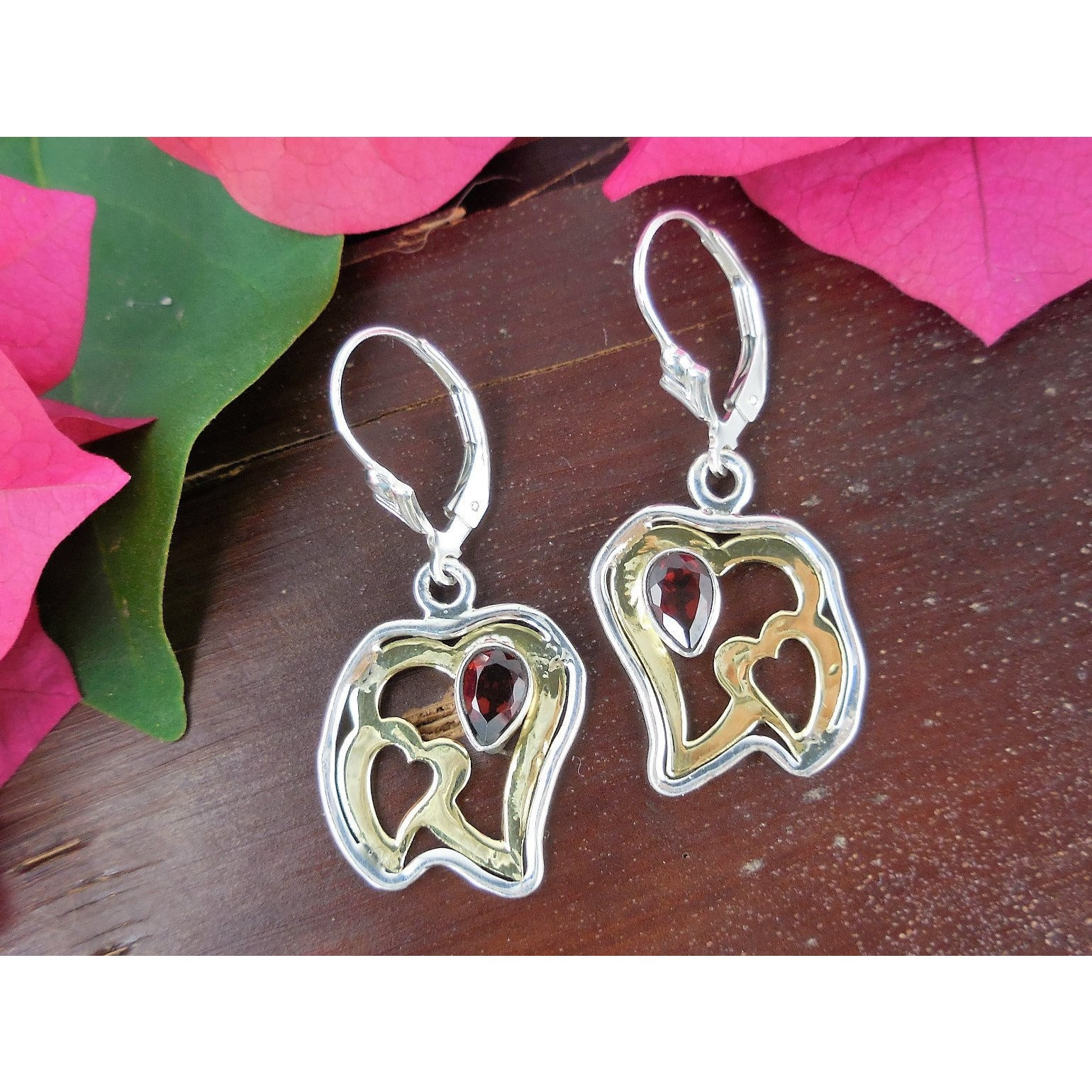 Garnet Vermeil Bi-Color Sterling Silver Heart Earrings