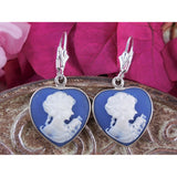 Blue Cameo Sterling Silver Earrings