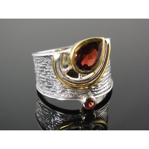 Garnet Sterling Silver Two-Tone (14kt Gold-Over-Sterling) Silver Ring - Sizes 6.5-10.5