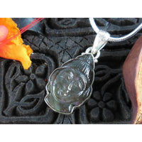 Handcarved Labradorite Sterling Silver Buddha Pendant/Necklace