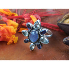 Kyanite, Iolite, and Blue Topaz Sterling Silver Ring - Size 9
