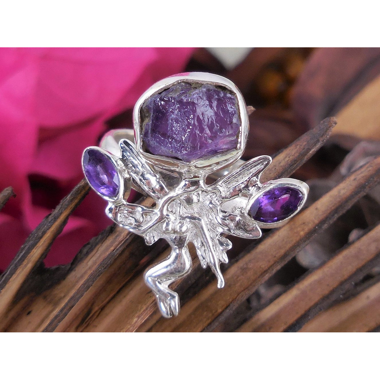 Amethyst (Rough) Sterling Silver Fairy Ring - Size 9