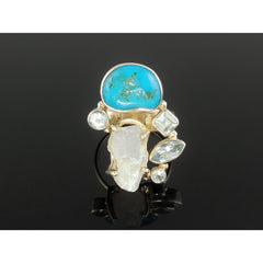 Turquoise, Moonstone (Rough), & Blue Topaz Sterling Silver Ring - Size 7.5