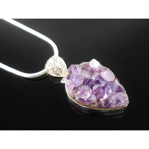 Amethyst Cluster Sterling Silver Pendant/Necklace