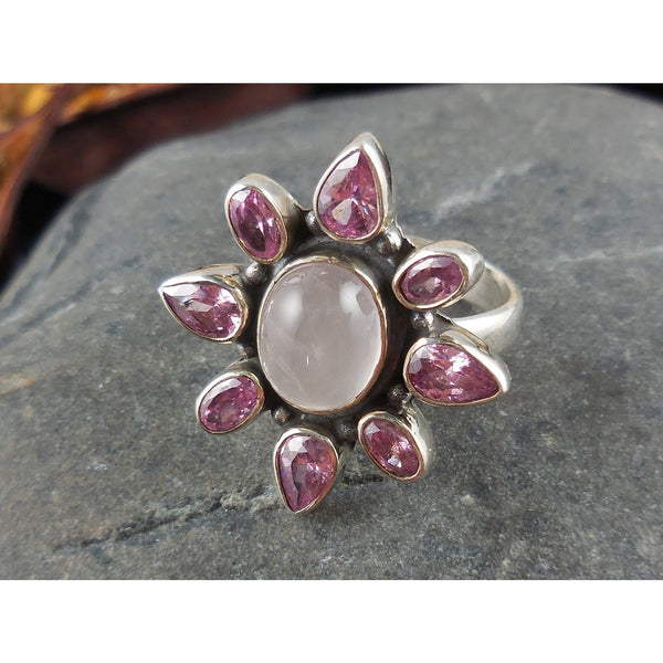 Kunzite & Rose Quartz Sterling Silver Ring - Size 7.75
