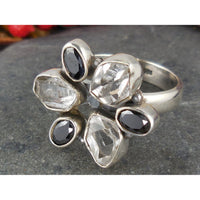 Herkimer Diamond (Quartz) and Onyx Sterling Silver Ring - Size 8.5