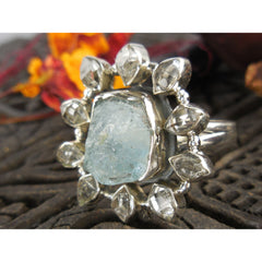 Aquamarine (Rough) & Herkimer Diamond (Quartz) Sterling Silver Ring - Size 7.75