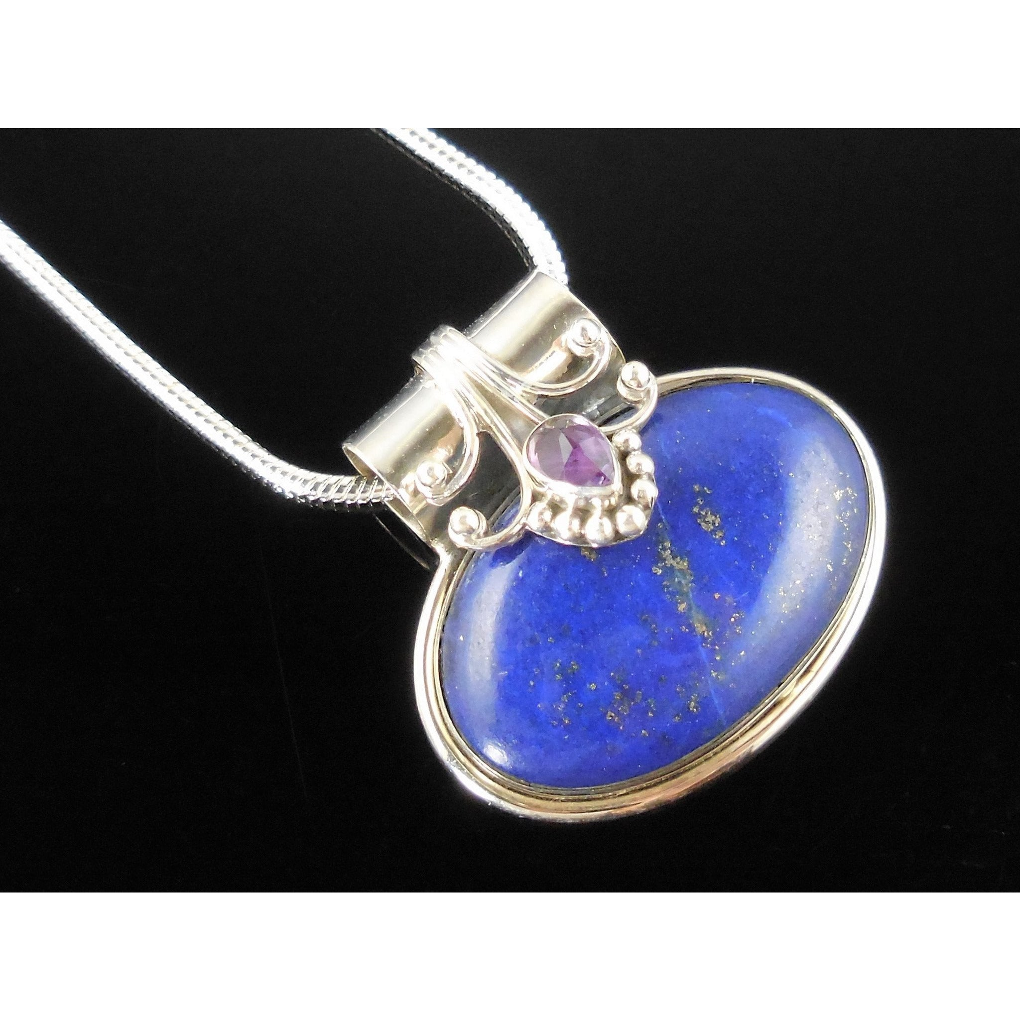 Lapis & Amethyst Sterling Silver Pendant/Necklace