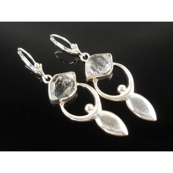 Herkimer Diamond (Quartz) Sterling Silver Goddess Earrings