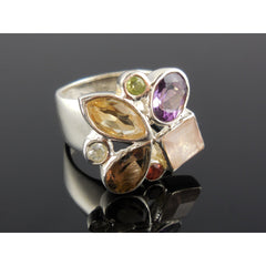 Multi-Gemstone Sterling Silver Ring - Size 7