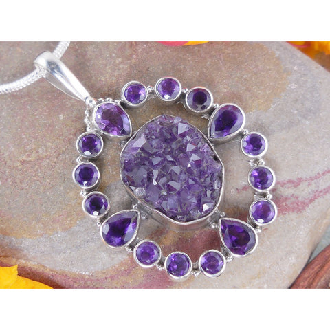 Amethyst Drusy Sterling Silver Pendant/Necklace