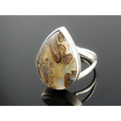 Tube Agate Sterling Silver Ring - Size 7