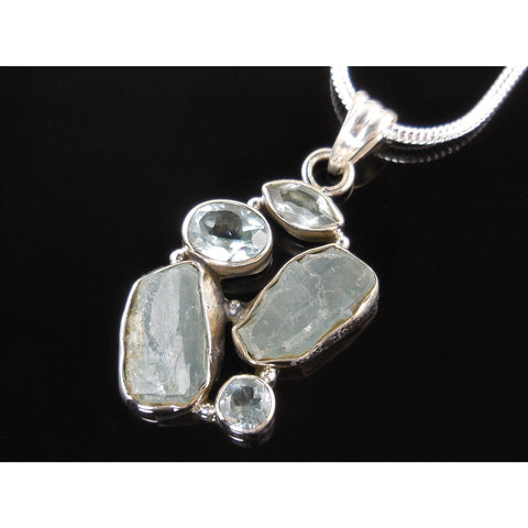 Aquamarine & Blue Topaz Sterling Silver Pendant/Necklace