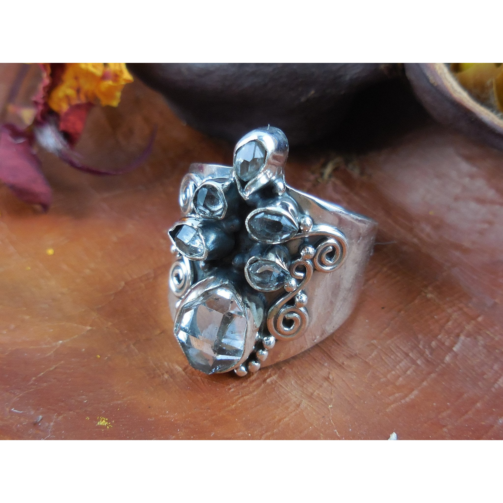 Herkimer Diamond (Quartz) Sterling Silver Ring - Size 7.25