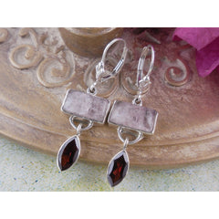 Rose Quartz & Garnet Sterling Silver Earrings