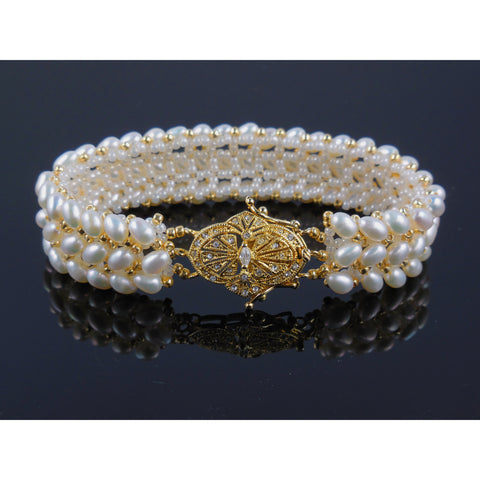 Handwoven Freshwater Pearl w/Vermeil Crystal Clasp Bracelet
