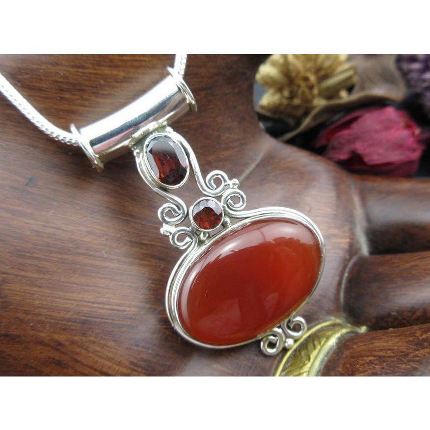 Carnelian and Garnet Sterling Silver Pendant/Necklace