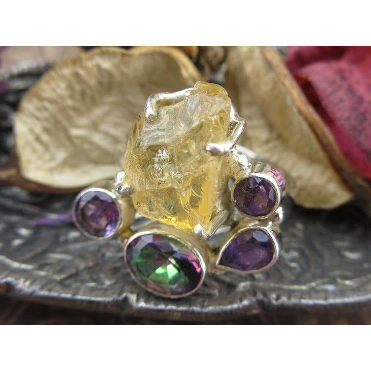 Citrine (Rough), Amethyst, & Rainbow Topaz Sterling Silver Ring - Size 8.75