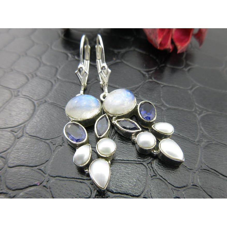 Moonstone, Pearl, and Iolite Sterling Silver Earrings