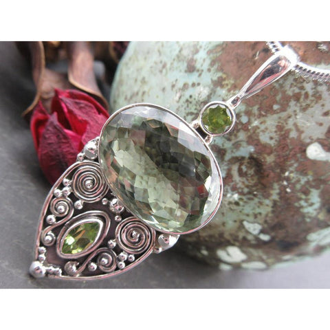 Green Amethyst & Peridot Sterling Silver Pendant/Necklace