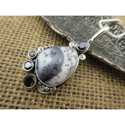 Dendritic Opal, Onyx, and Smoky Topaz Pendant/Necklace