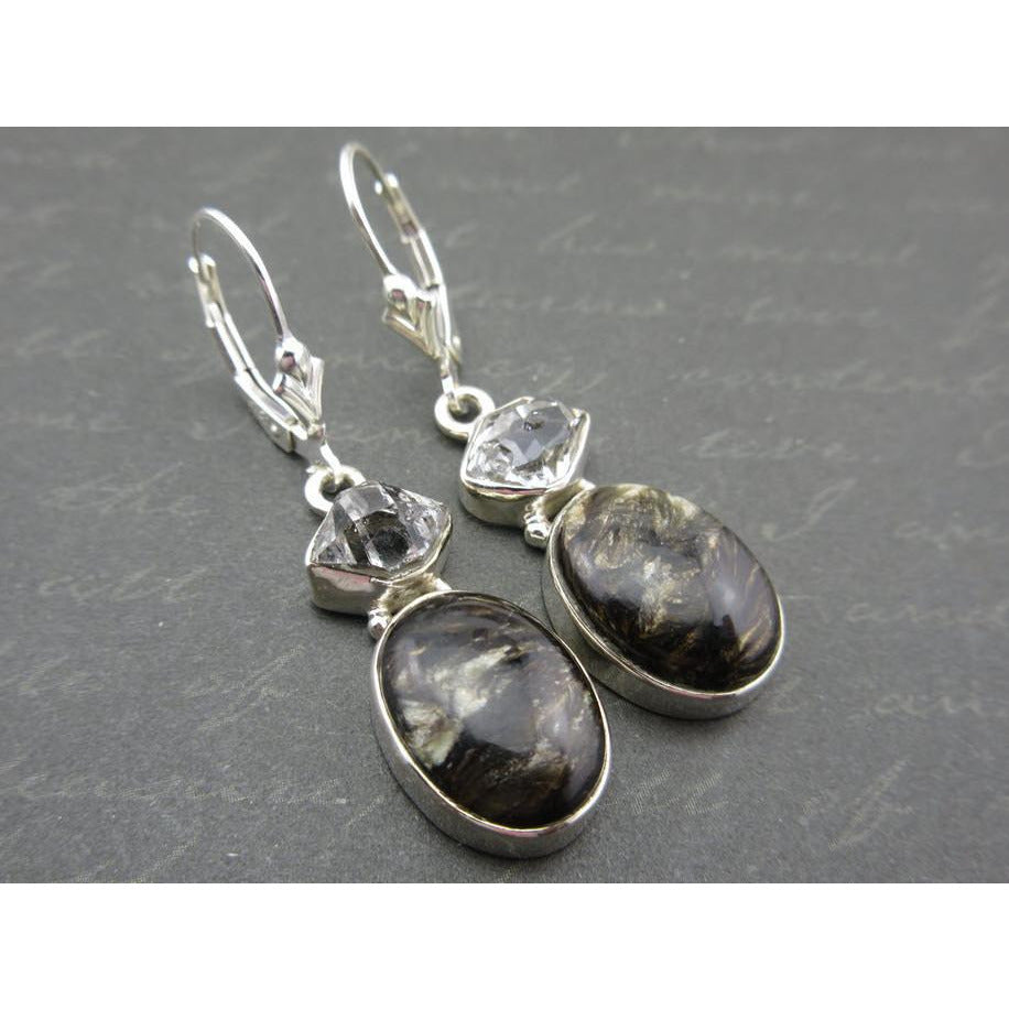 Golden Seraphinite & Herkimer Diamond (Quartz) Sterling Silver Earrings