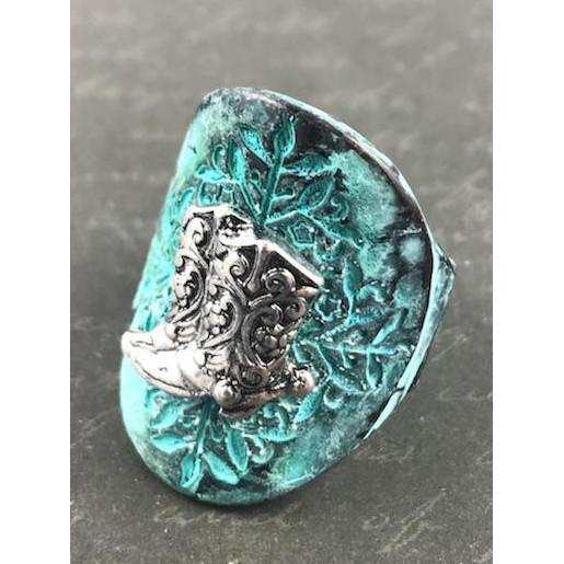 Boot Charm Etched Stretch Ring - Patina