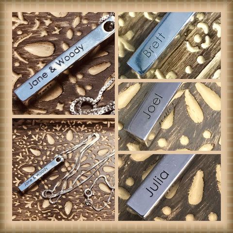3D Engraved Bar Necklace - .925 Sterling Silver - 1 to 4 Inscriptions